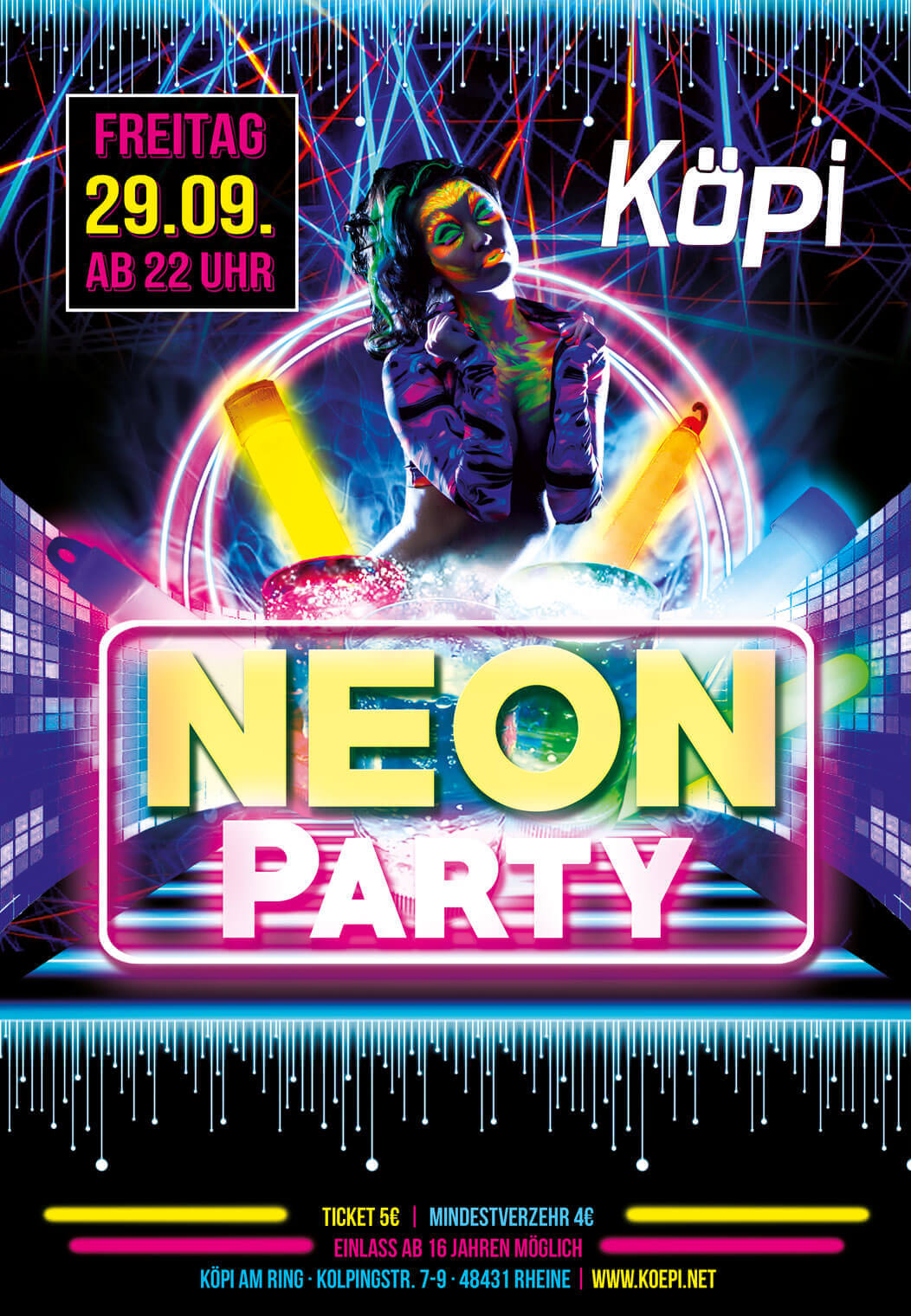 Neon party bodypainting k pi am ring rheine for Neon paint party 2017